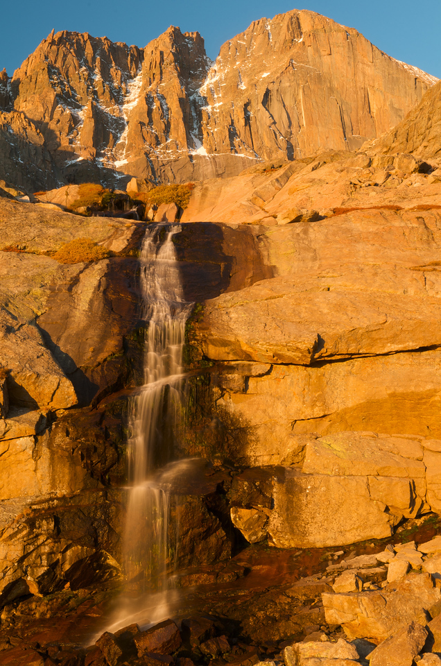 Though requiring some commitment, Columbine Falls at sunrise is worth the hike.