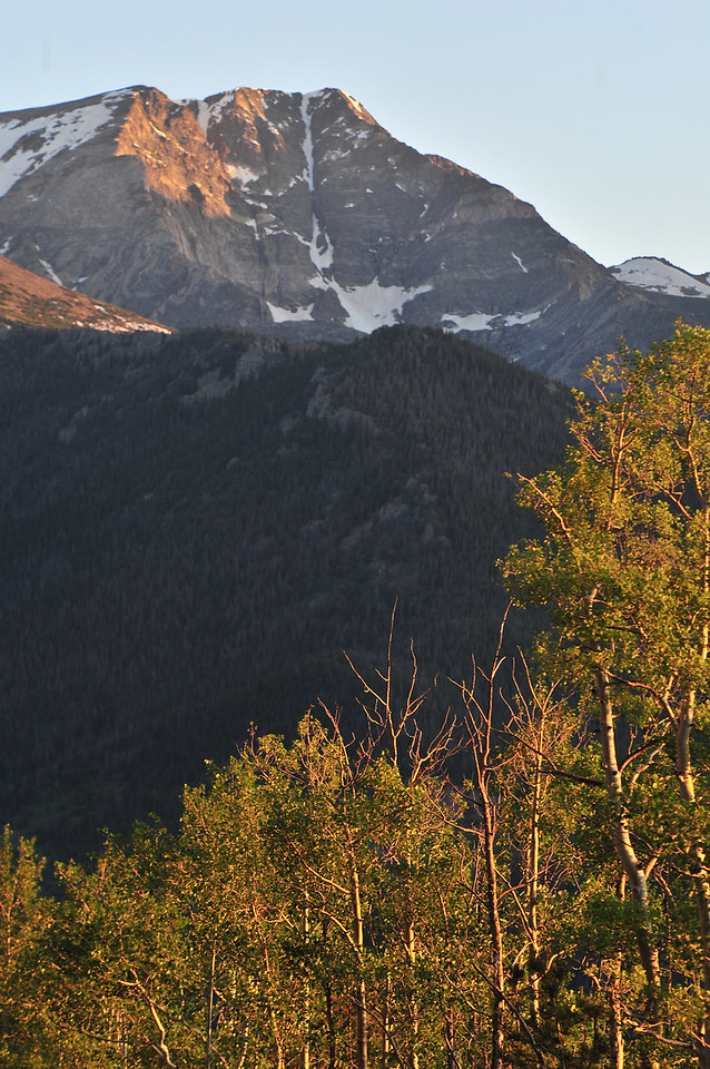 Aspens and Mount Ypsilon catch the morning's first light on Wednesday.