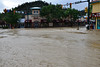 Water floods the intersection of Elkhorn and Moraine Avenue Friday morning, Sept. 13 in downtown Estes Park.