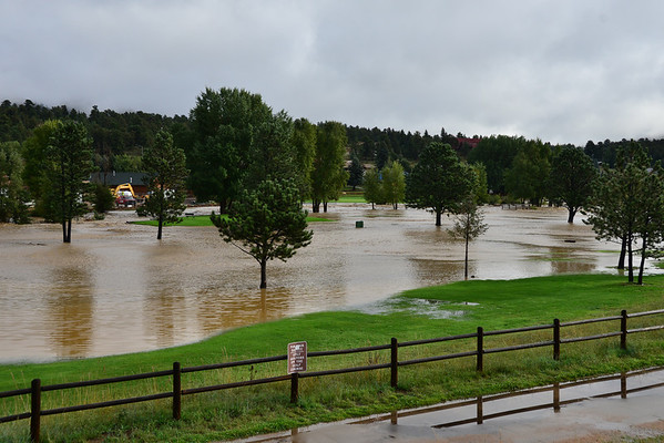 Floodwater from the Big Thompson River cover the 9-hole golf course in Estes Park Friday morning, Sept. 13.