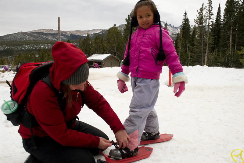Sydney Shinlund and Sonya, 5, of Fort Collins get ready for a day of fun in the snow on Saturday.