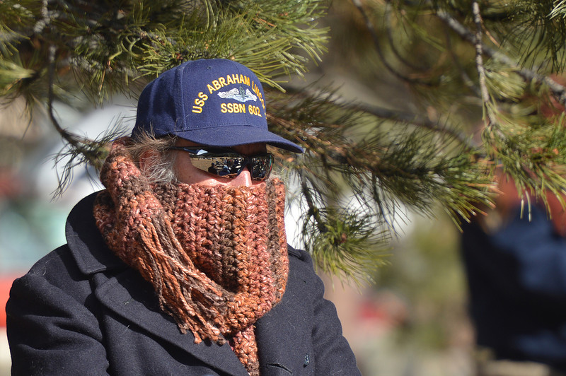 A veteran stands bundled up against the cold on Sunday. Veterans and family members braved temeratures in the 20s, as well as a biting wind to attend the Veterans' Day service.