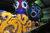 "23EPStand Ornamental.jpg Giant Christmas ornaments decorate a float at Barn ""W"" on Monday. The Catch the Glow floats are close to completed and tested for Friday's parade."