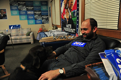Local Democratic field organizer Joe Ardito sit exhausted at local Obama re-election headquarters on Tuesday night. Election watchers and politicos creadit organizers like Ardito and their Election Day efforts for the President's victory.
