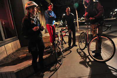 Folks prepare to ride home on Election Night. Few public establishments saw political revelers on either side.
