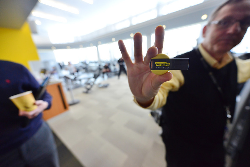 Slightly bigger than a thumbdrive, the TechnoGym carries workouts and fitness data for a client. The data and workouts can be used to track progress.