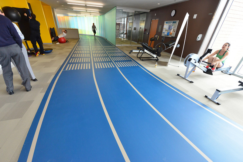 A second-floor indoor track offers a respite for those who don't like running in the cold.