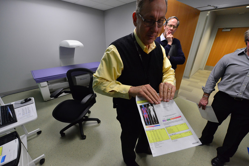 Visitors to the Aurora facility had the chance to see some of the state-of-the-art equipment for improving health. Here they see a body composition scan from the best technology available.