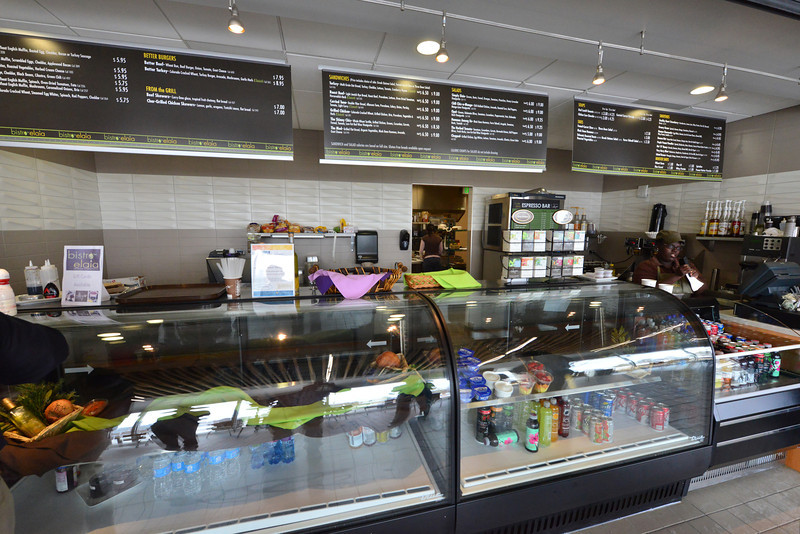 The Bistro Elaia offers hungry active people heathy food. While the bistro is an outside vendor, they are encouraged to provide healthy options for those who want them.