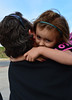Walt Hester | Trail-Gazette<br /> Nina Pabst hugs dad, Eric, before her first day of kindergarten on Wednesday. The Estes Park Elementary School started classes two days after the rest of the district, allowing for assesment tests for young students.