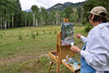 Walt Hester | Trail-Gazette<br /> Nancy Hutcheson of Grand Junction paints aspen in Endovalley on Wednesday. Hutcheson was one of many Plein Air painters in the national park ahead of the Plein Air weekend events in Estes Park.