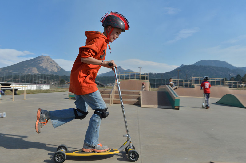 Andrew Campbell, 11, of Estes Park wheels around the Estes Valley Youth Center Skatepark on Wednesday. Elementary school students enjoyed early release on Wednesday.