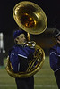 Al Franklin plays his tuba at the halftime show of the Friday Homecoming Game. The marching band played their competition program for the crowd.