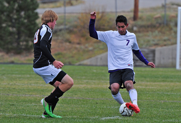Midfielder Jorge Morales moves the ball upfield against Sterling on Saturday. The defense had a difficult time against Frontier Academy on Tuesday, resulting in a 3-1 loss.