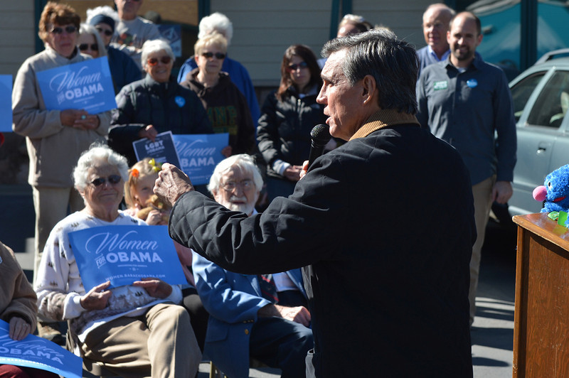 National re-election committee co-chair Federico Pena speaks to supporters at the Estes Park Democratic Party Headquarters on Sunday. Pena s a former mayor of Denver.