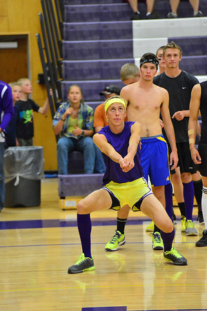 Senior Andrew Cirone prepares to bump a hit in warm ups before the Power Puff volleyball game between the Senior and Junior boys on Wednesday, October 3. The Seniors won the match 3-1.