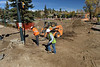 Workers continue scraping and digging and remaking Bond Park on Monday. The town hope this phase will be complete before the next visitor season.