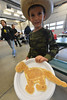 Cash Faith shows off his custom pancake at the EPVFD pancake Breakfast and openhouse on Saturday. The event was a fund raiser for the department and a chance to meet firefighters and get a look at the equipment they use every day.