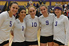 Ladycat seniors smile together on Thursday. Saturday was the last game for the team, but Thursday was Senior Night to allow parents and fans to travel to Nederland.