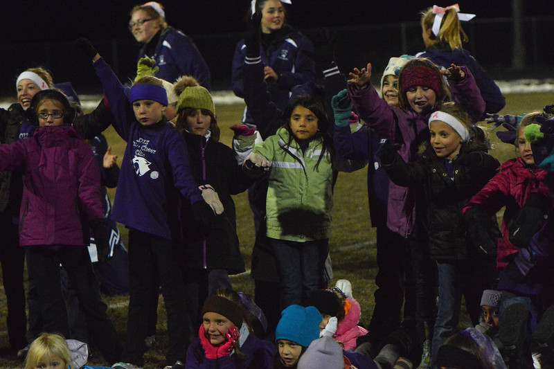 The Estes Park junior cheerleaders entertained at halftime of Friday's football game. The pint-sized squad has become a tradition for the late-season game.