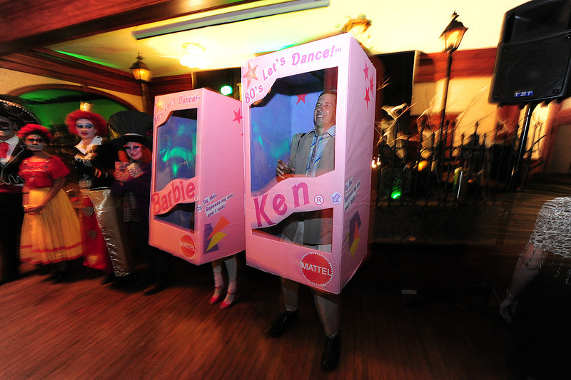 Boxed and ready for fun, Chris Morgan and Courtny Carmen of San Luiz Obispo, Calif., are Ken and Barbie at the Shining Ball. Not all the costumes were scary, but all were entertaining.