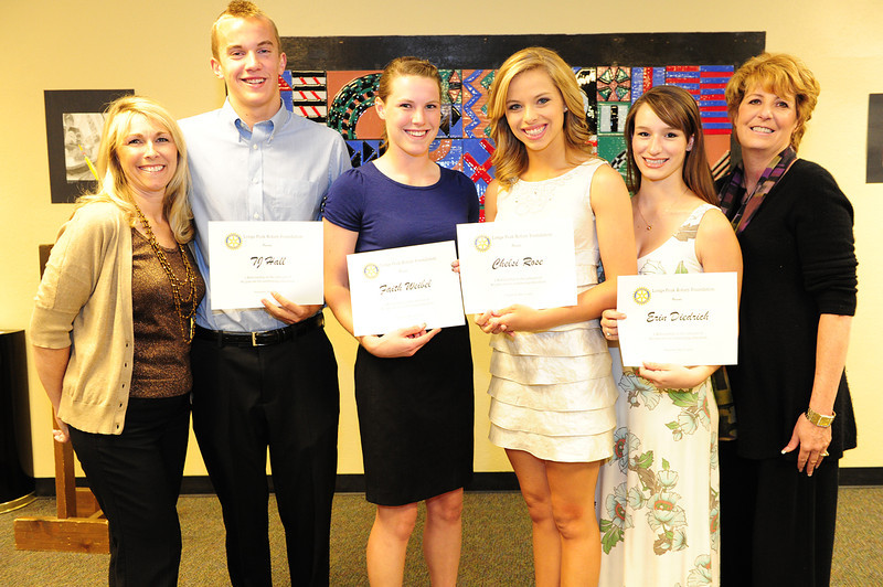 Walt Hester | Trail Gazette<br /> TJ Hall, Faith Weibel, Chelsea Rose and Erin Diedrich receive Longs Peak Rotary Scholarship.