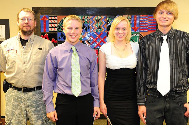 Walt Hester | Trail Gazette<br /> Jonathan Pass, Tasha Hess and Joshua Hess received the Ace Hardware Scholarship.
