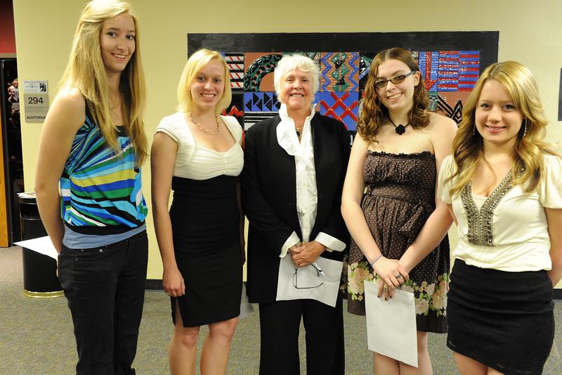 Walt Hester   Trail Gazette<br /> Evelyn Bangs, Tasha Hess, Lindsi Durrett and Iliana Normali received the Lions Club Scholarship.