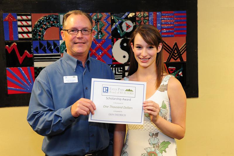 Walt Hester | Trail Gazette<br /> Erin Diedrich receives the Estes Park Board of Realtors scholarship from Scott Thompson.