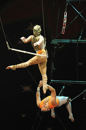 Walt Hester | Trail Gazette<br /> Hard enough when one can see, this trapeez artist reaches for what she hopes will be there.