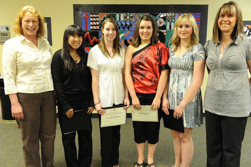 Walt Hester | Trail Gazette<br /> Michelle McQuinn, Kaylee Eshelman, Megan Kossuth and Alexandra Hansen received the Town of Estes Park Helping Hands Scholarship.
