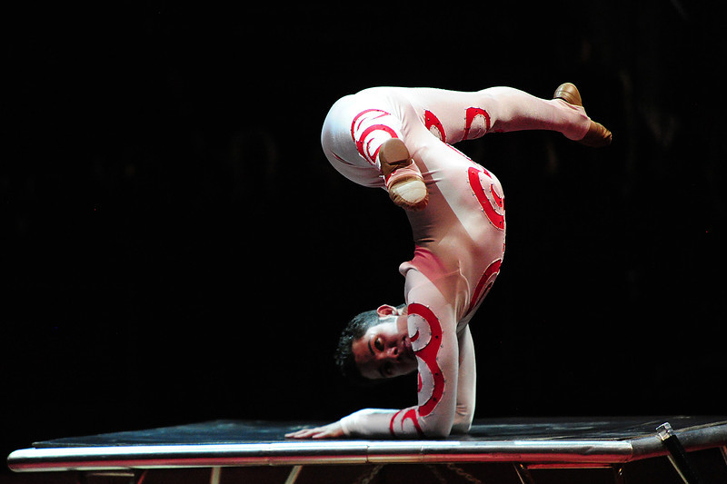Walt Hester | Trail Gazette<br /> The circus' elastic man begins his routine on Sunday. He demonstrated flexability to extremes during the performance.
