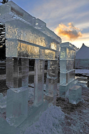 14EP StndAln Castle wall.jpg Walt Hester | Trail-Gazette<br /> Sunset colors and shows through the beginings of the Winter Festival ice castle in Bond Park on Wednesday. The town hosts several wintery events this weekend.