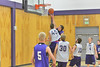Isaak Cirone blocks a shot in practice on Monday. The boys season starts this weekend.