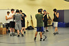 The wrestling team dons headgear before drills on Monday. The headgear takes some getting used to and is required during matches.