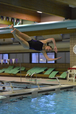 Jordan Brown, 17, turns toward the water during diving practice on Monday. The divers, just two so far, are both likely to land a slot at the state meet in February.