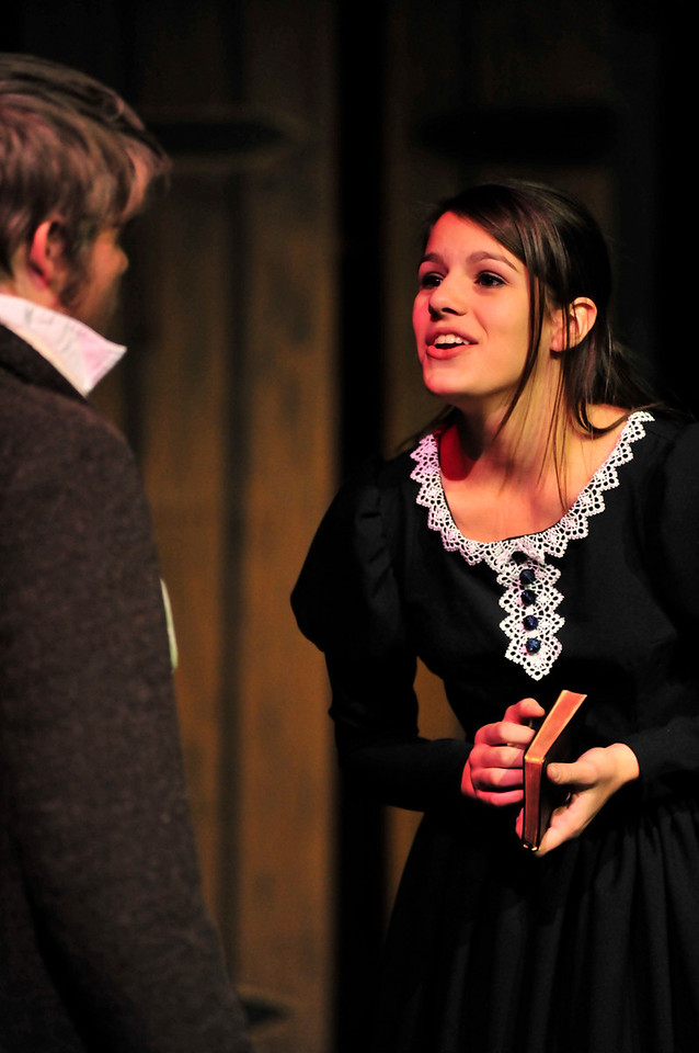 Walt Hester | Trail-Gazette<br /> The grown up and beautiful Cosette, played by Jennifer Klink, describes her infatuation with a student revolutionary, to her adoptive father, Valjean. The life of Cosette is one of many threads woven through the musical narative.