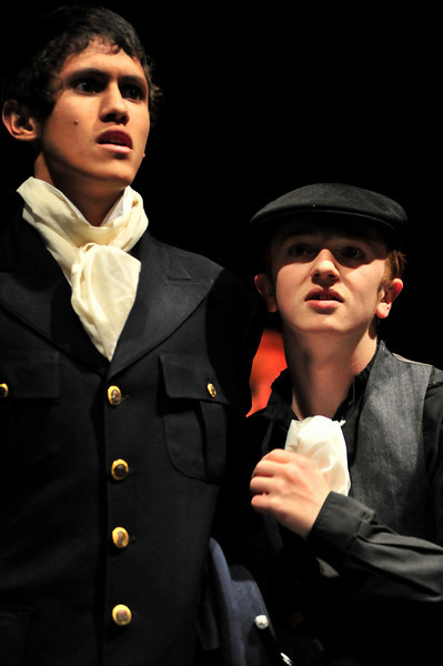 Walt Hester | Trail-Gazette<br /> Sean McAlpin as Javert and Luke Miller as Thénardier, sing of their plans. While the greedy Thénardier is a real villian in the story, the policeman, Javert, is more of a misguided antagonist, a rigid law man pursuing the ex-convict, Valjean.