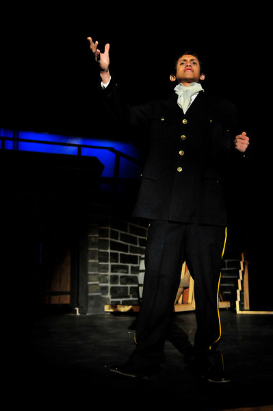 Walt Hester | Trail-Gazette<br /> Sean McAlpin, as Javert, sings of his relentless pursuet of the ex-convict, Valjean. Javert's character is a law man, perhaps misguided and rigid in his view of the law, he is not a real villian in the story.