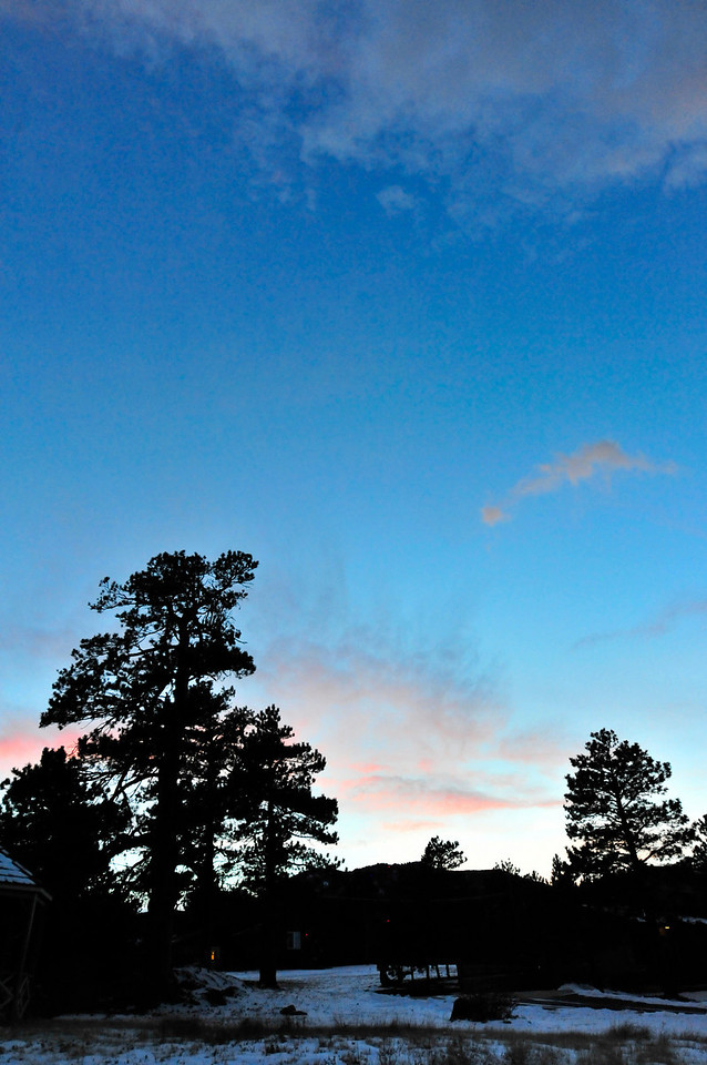 Walt Hester | Trail-Gazette<br /> Skies over Estes Park clear at dusk on Wednesday. Friday is expected to be clear and sunny before the return of snow over the weekend.