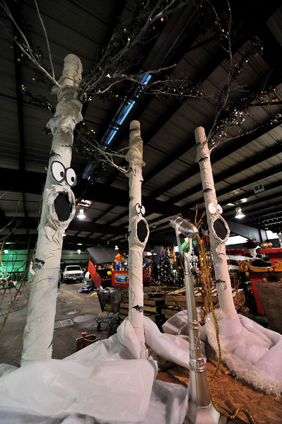 Walt Hester | Trail-Gazette<br /> Aspens sing on a float at the fair grounds on Tuesday, destined for the Catch the Glow Parade on November 26.