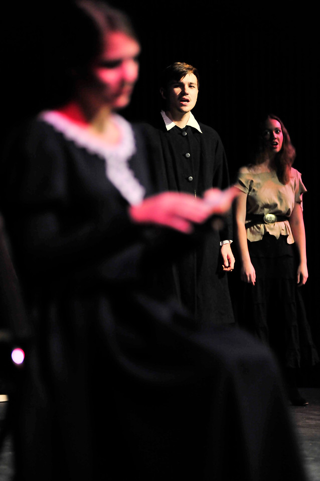 Walt Hester | Trail-Gazette<br /> Marius, center, sings of his love for Cosette, while Eponine, Morgan Denney, sings of her secret love of Marius.