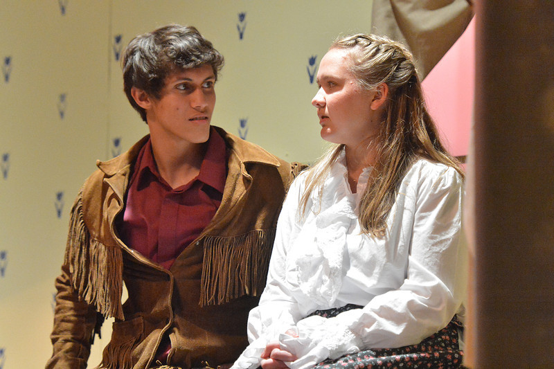 Adam Pontipee, played by Sen McAlpin, and Milly, played by Stephanie Soliday, try to work things out in the high school production of Seven Brides for Seven Brothers. The play runs Friday and Saturday evenings at 7 at the Estes Park High School auditorium.