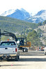Contruction continues under the high peaks of Rocky Mountain National Park on Wednesday. Bear Lake Road work progresses south of Moraine Park though it continues to slow traffic on the busy road.