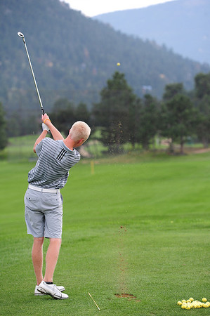 22EPGolf Jirsa Drives.jpg Walt Hester | Trail-Gazette<br /> Dylan Jirsa drives a ball down range during practice on Monday. Jirsa won the first tournament of the season last week.