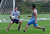 24EPSoccer Keeper.jpg Walt Hester | Trail-Gazette<br /> Senior goalkeeper Josh Hays comes out to make a save during Wednesday's practice. Hays has been the starting keeper for four years and is a vocal and confident defensive director.