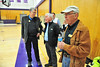 Estes Park mayor Bill Pinkham, far right, and several town trustees were on hand Saturday afternoon for the fire briefing at the Estes Park High School. The mayor's home was spared in June, but he found himself preparing to evacuate again over the weekend.