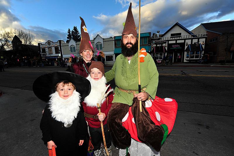 Walt Hester | Trail-Gazette<br /> The Miner family wanders Elkhorn Avenue as gnomes on Sunday.