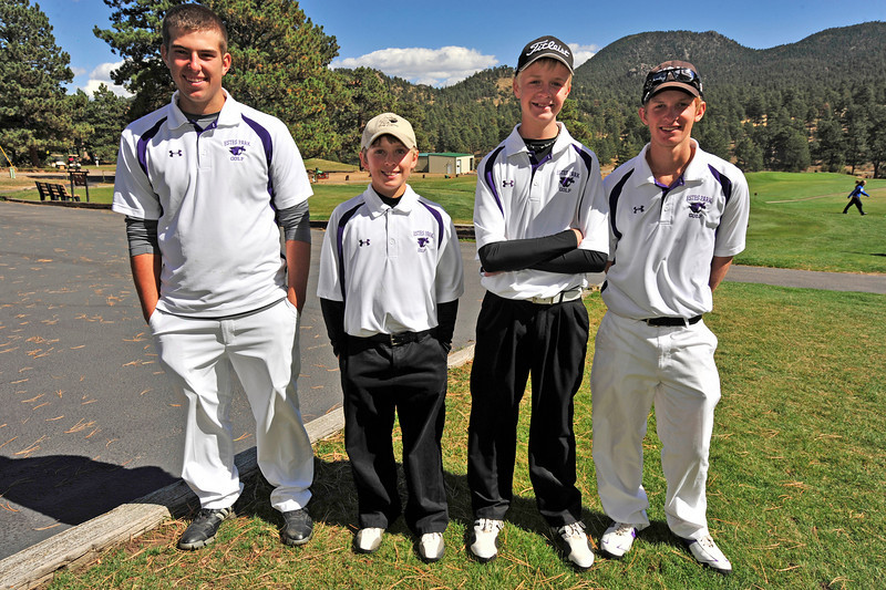 Zach Eitzen, Brian Coleman, Dylan Jirsa and Carson Joens pose after Thursday's golf tournament. Jirsa and Joens will likely compete in the state tournament.