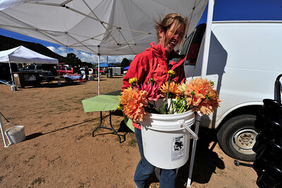 Photo by Walt Hester Julie Cook of Plattevillepacks in her flowers after another farmers market on Thursday. Tomorrow will be the last Estes Valley Farmers Market of the year.